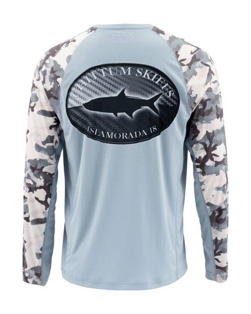Chittum Simms Solarflex Shirts Hex Flo Camo Grey Blue
